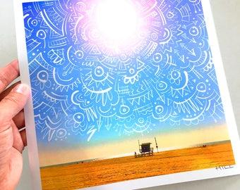 Venice Beach Sunshine metallic print