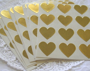 108 GOLD Heart Stickers, Sticker Seals, 9 COLORS