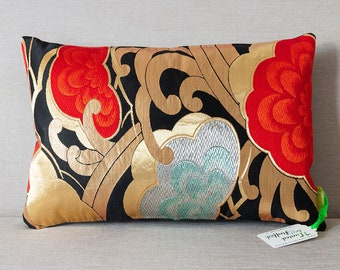 Luxury Kimono Cushion Japanese Obi Pillow in Black Red Pine Trees Matsu with Metallic Gold Accent Embroidery Upcycled Vintage Kimono Silk