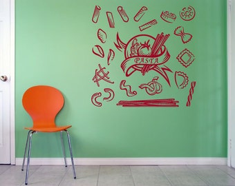 Wall Vinyl Sticker Decals Mural Room Design Pattern Pizza Pasta Food Snack  bo1353