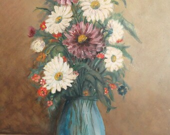 Vintage still life flowers in vase oil painting