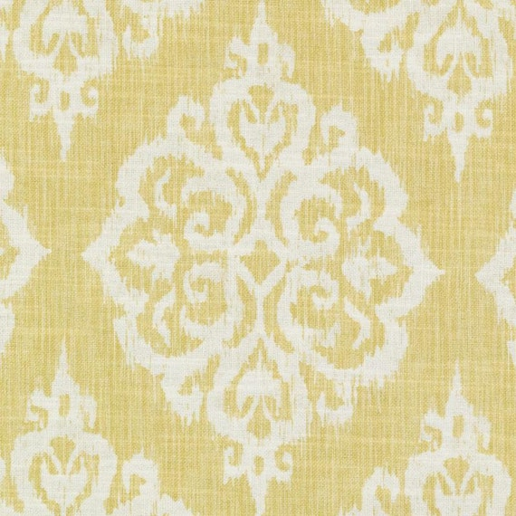 Yellow Woven Damask Upholstery Fabric - Large Scale Medallion ...
