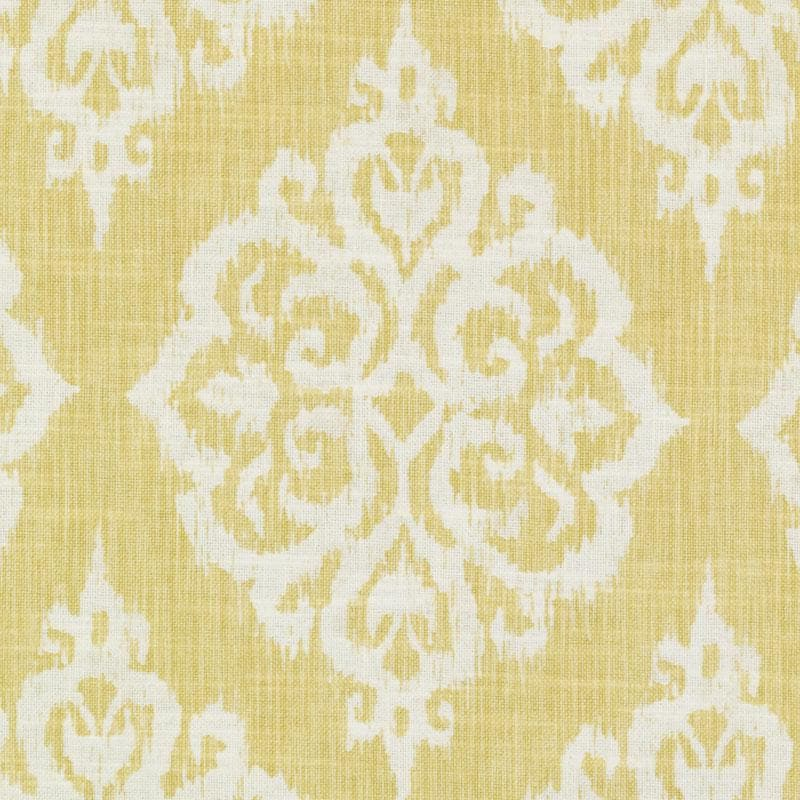 Yellow Woven Damask Upholstery Fabric Large Scale Medallion