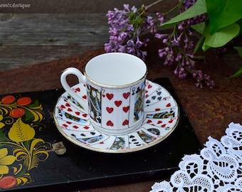 Vintage Elizabethan Staffordshire Fine Bone China England 'Cut For Coffee' Small Petite Espresso Coffee Cup&Matching Saucer English China