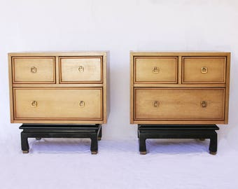 INVENTORY SALE! American of Martinsville Pair of Vintage Nightstands / Mid Century Nightstands / Chinoiserie / Side End Table