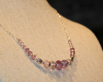 Amethyst necklace on sterling silver, one-of-a-kind only designer jewelry