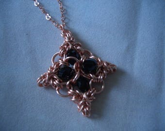 Rose gold coloured pendant necklace Byzantine style chainmaille