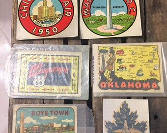 Vintage Set of Window Stickers, States, Park, Attractions from the late 1950's