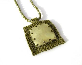 Hemp necklace,ceramic pendant,square necklace,ceramic necklace,geometric necklace,vegan,gift for her,giada cortellini,yellow,chocolate