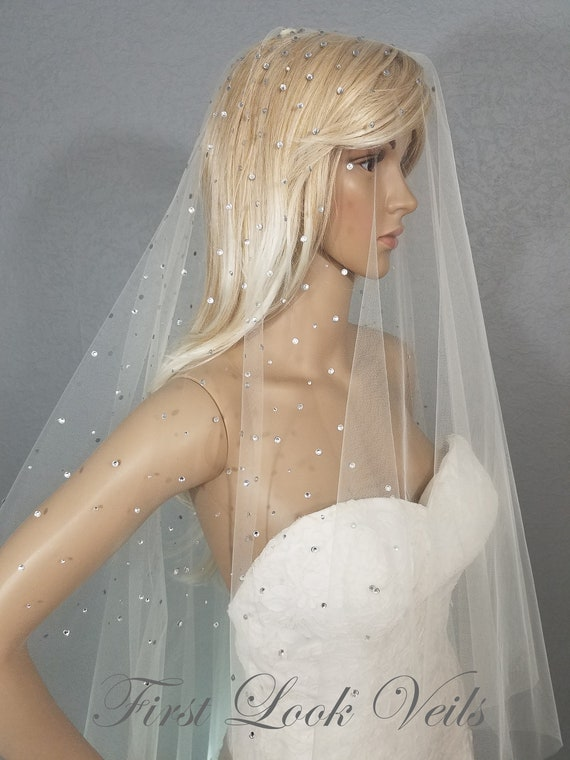 Wedding Veil, Bridal Veil, Drop Chapel Veil, Crystal Veil, Ivory Veil, Drop Veil, Handmade Veil, Bride, White Veil, Long Veil
