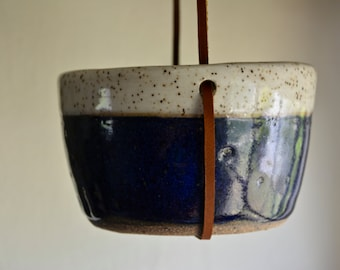 White and Cobalt Blue Ceramic Hanging Planter