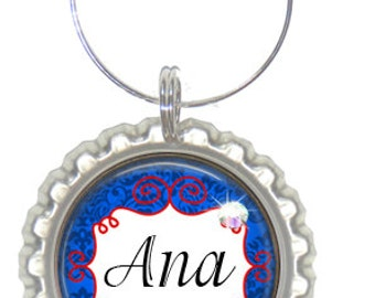 Set of 6 - PERSONALIZED WINE CHARMS - Blue Red Damask - Perfect For  Bachelorette Party Favors, Wedding Favor, and Parties