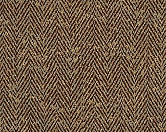 By the HALF YARD - Man About Town by Deborah Edwards for Northcott Fabrics, Buckskin Colorway, Pattern #20421-36 Brown and Beige Herringbone