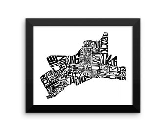 Toronto typography map art FRAMED print customizable city neighborhoods poster custom wedding engagement graduation gift wall decor