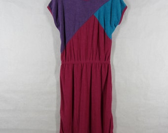 80s Color Block Dress L Dark Pink French Terry Knit