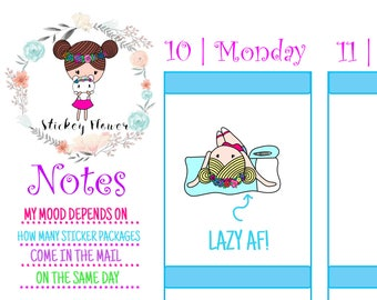 Wallflower Daisy - Lazy Day, Bored, Cute Stickers for Personal planners, Erin Condren Life Planners, Happy Planners or Scrapbooking