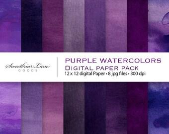 Purple Watercolors Digital Scrapbook Paper for instant download