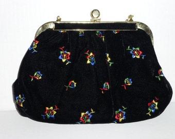Bright Floral Embroidery On Black Velvet Vintage Handbag, Ca. 1940 - 1950, 1 Owner,So Retro !