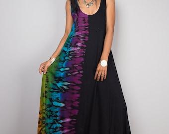 Tank top dress, Rainbow dress, Maxi Dress, Tie Dye Cotton Maxi dress, Festival dress  - Funky Tiedye Collection  RATA003