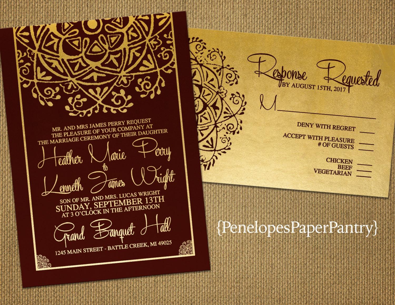 Burgundy and Gold Wedding InvitationIndia InspiredElegant