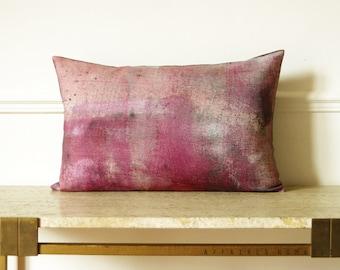 Modern pink vintage inspired decorative Linen oblong Pillowcase .  Fade color .. / RETRO-MODERN