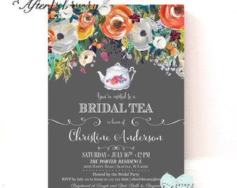 Fall Bridal Shower Invitation Bridal Shower Tea Party Invitation // Bridal Shower Invitation // Printable No.1240BRIDE