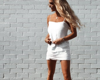 Linen Mini Dress, White Linen Mini Dress with Thin Shoulder Straps, Available in White, Black or Natural Linen