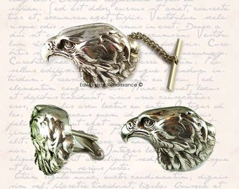 Cufflinks and Tie Pin Set  American Eagle Head in Antique Sterling Silver