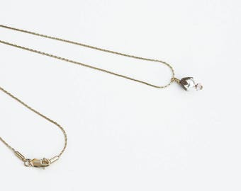 Delicate Pearl Pendant Necklace on Very Fine Gold Chain