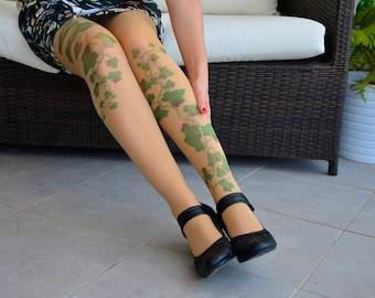 Poison Ivy Tattoo Tights , Green Ivy Leafs Print, S-XXL Sizes Available , Poison Ivy Printed Tights