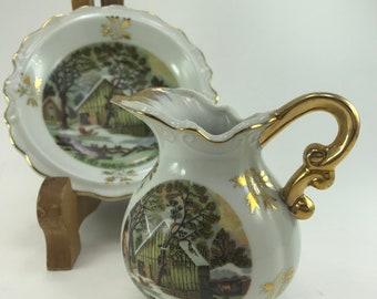 Currier & Ives Creamer w/ saucer Winter Homestead Gold Scroll Handle Details