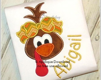 Girly Turkey Face Applique Design - Instant EMAIL With Download - 3 sizes - for Embroidery Machines