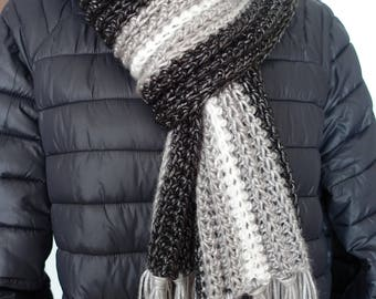 Scarf for men, Handmade crochet scarf, Gray-black-white scarf, Scarf with tassels, Chunky crochet scarf, Spring scarf, Gift for him