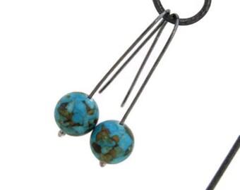 Fine Silver Earrings Chunky Blue Stone Earrings Metalwork Handmade Jewelry Earthy Bohemian Jewelry Rustic San Diego California USA