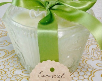 Coconut Soy Candle  Vintage Candy Dish Bowl  Coconut Fragrance Natural Soy Candle  Holds a lot of fragrance