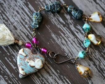 Eclectic Owl Bracelet - Ceramic Heart Bracelet - Teal and  Fuchsia - Rustic Boho - Bohemian Bracelet - Wire Wrap Jewelry - Bead Soup