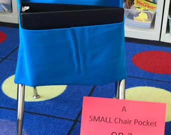 1 SMALL Chair Pocket Seat Desk Sack Washable Colored Duck Cloth You Choose the COLOR(s) Chair Pocket Factory Classroom Desk Organizer