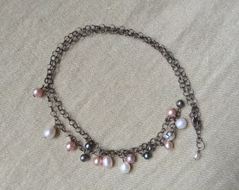 Freshwater Pearl Sterling Necklace -- 534
