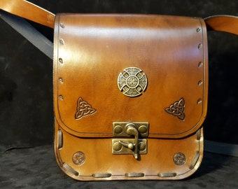 Celtic dark brown leather bag