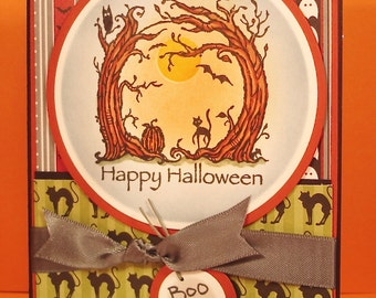 Handmade Halloween Card with Scene of Woodland Creatures and Full Moon