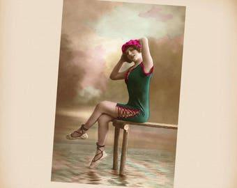Art Deco Bathing Beauty New 4x6 Vintage Postcard Image Photo Print BB20