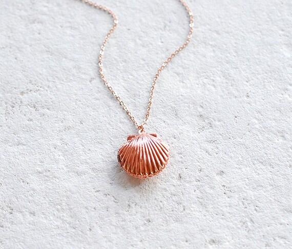 Rose Gold Seashell Locket Necklace Sea Shell Locket Necklace