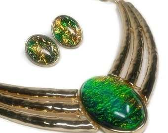 Sale| Autumn Opal Statement Necklace - Bib Necklace Set - Lucite Faux Opal - Bridal - Prom - Abalone - Statement - Wedding - Bridesmaid - Je