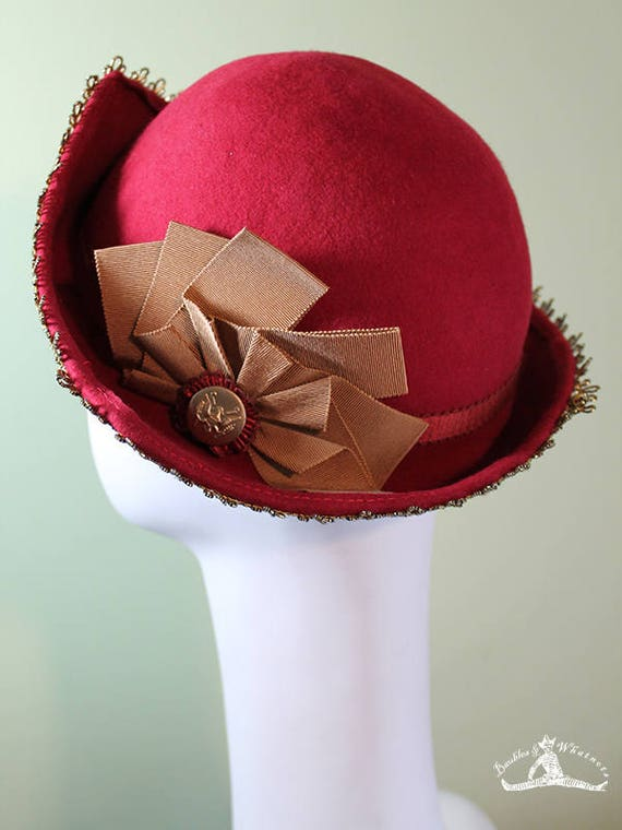 Women's Cloche Hat - Red Wool 3-Point - 30s Hat - 20s Hat - Vintage Inspired Cloche
