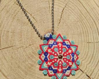 Miyuki pendant- Miyuki beaded- Peyote necklace- ethnic boho necklace