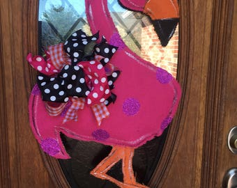 Flamingo burlap door hanger