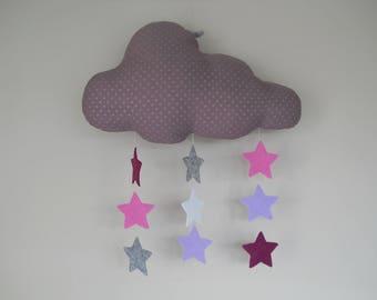 Decorative purple cloud and stars