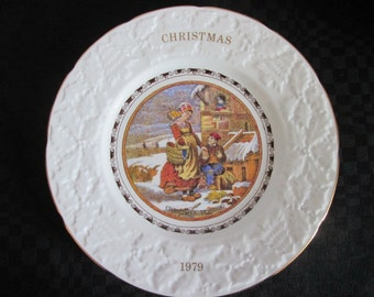 Vintage plate decorative Pratt 4 th of a series of Christmas 1979 / Vintage Decorative plate Pratt 4 sets of Christmas dogs on 1979