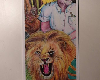 Bookmark - David Attenborough Riding a Lion