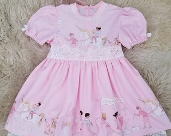 Pink Unicorn Dress with Custom Name Embroidery for Girls - Easter Dress for Girls - Handmade Dress - Cotton Dress